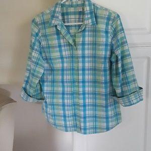 Izod button down blouse large